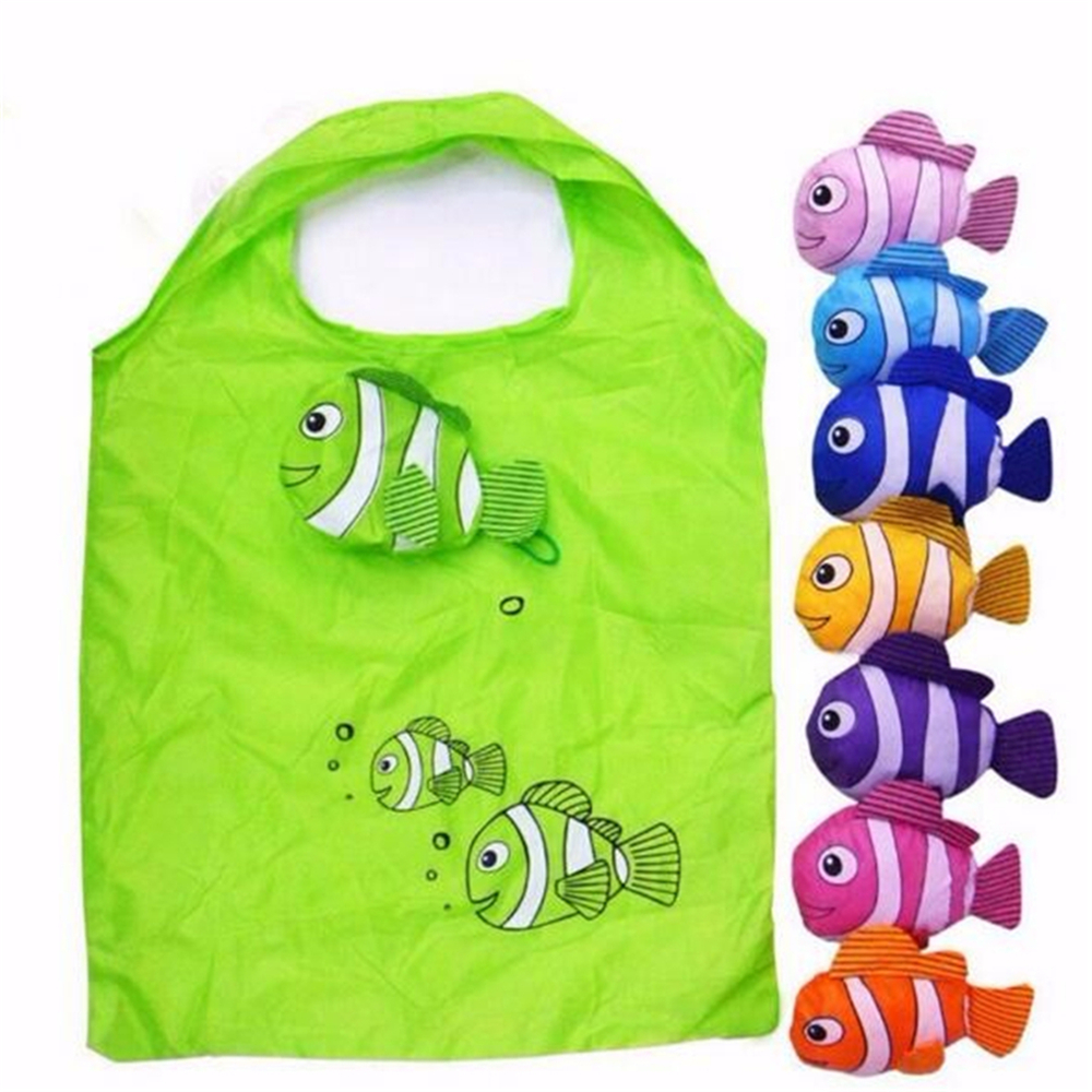 7 Colors Tropical Fish Foldable Eco Reusable Shopping Bags Reusable Tote Pouch Recycle Storage Handbags 38cm X58cm