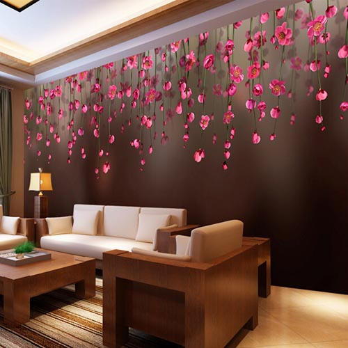 3D Wall Murals Wall Paper Mural Luxury Wallpaper Bedroom For Walls Home  Decoration Grande Fresque Murale Paysage Red Flower In Wallpapers From Home  ...