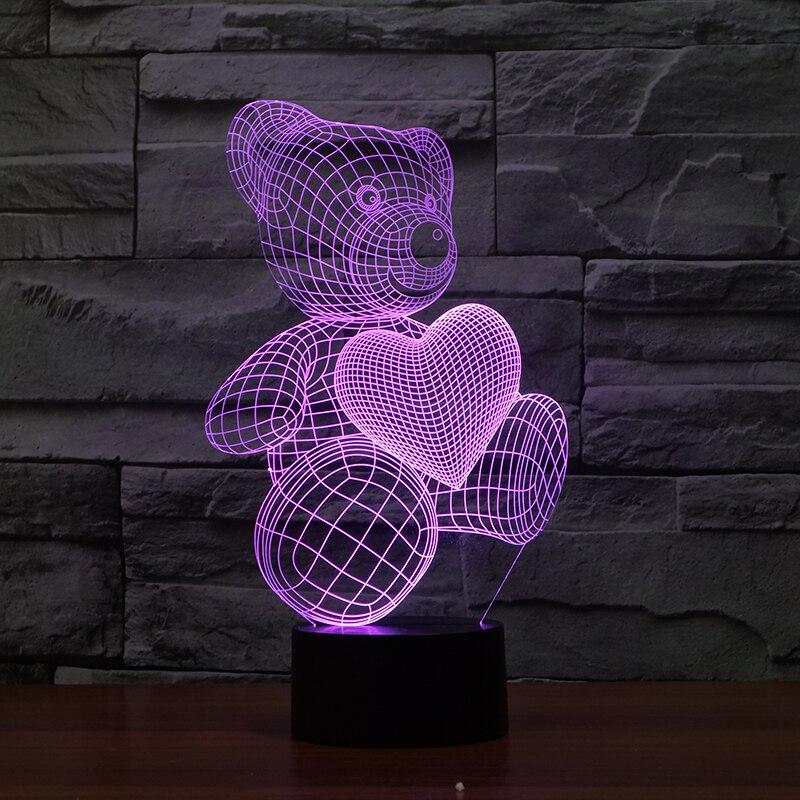 3D Оптические иллюзии LED Мишка Night Light, 7 цветов Изменение ночник, комната Декор свет, настольные лампы