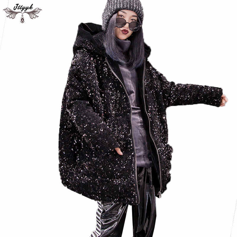 ec38b61b1 Vintage Winter Jacket Female Thicken Sequins Hooded Parka Warm Coats 2019  Down Cotton Coat Motorcycle Jacket