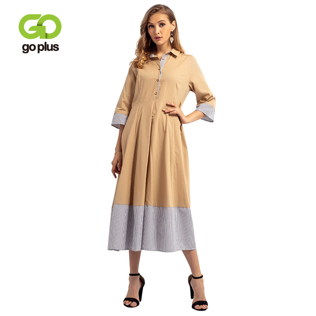 Fashion Muslim Abaya Striped Patchwork Maxi Dress Turn-down Collar Long Gown Plus size Jubah Middle East Islamic Clothing Female