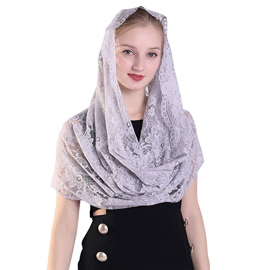 ISHSY Grey Lace Women Catholic Veil Mantilla For Church Head Covering Latin Mass Mantilla De Novia Negra Chapel Infinity Veil