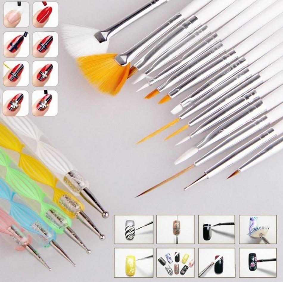 20 Pcsset Nail Art Design Set Dotting Painting Drawing Polish Brush