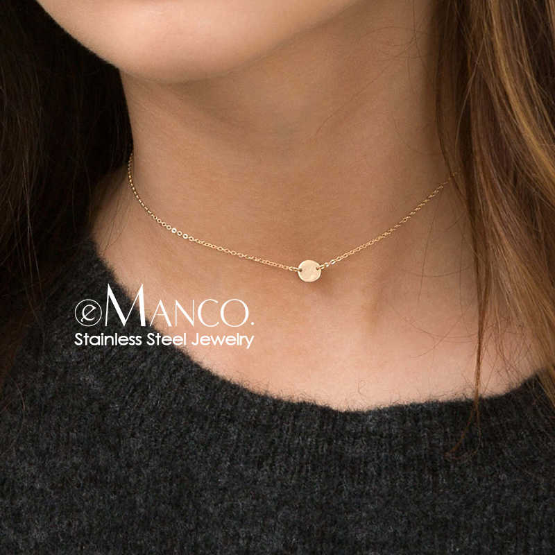 e-Manco Trendy Stainless Steel Necklace women 2019 Statement Necklace Dainty Coin Necklace Pendants Jewellery