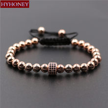 2017 Trendy Copper Beads & Pave Micro Cubic Zirconia Braiding Macrame Bracelet For Men Women Jewelry Pulseras Mujer Couple Gift(China)