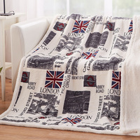 Hot Double Layer Thick Sheep Cashmere London Pattern Blanket Winter Warm Soft Plush Throw on Bed Sofa Blanket 130cmx160cm Size