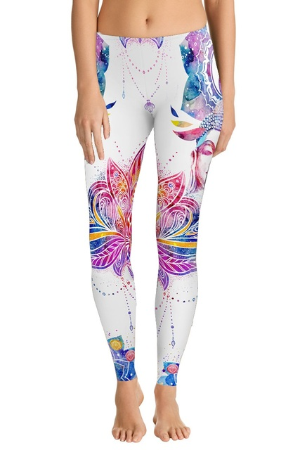 fe9d0f8997dd JIGERJOGER Thick fabric Winter Indian style Buddha print white Mandala  Leggings New Plus size XL Women's compression tight pants