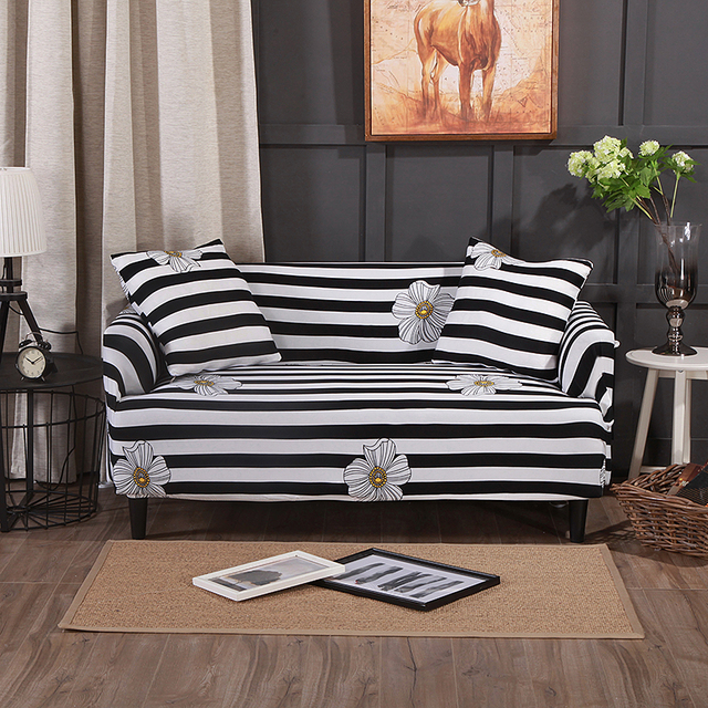 Black And White Stripes Couch Corner Sofa Slipcovers For Living Room Universal Stretch Sectional