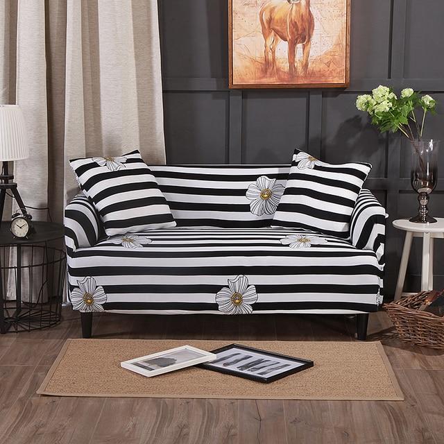 housse de canapé noir et blanc Noir et Blanc Rayures Canapé/Canapé D'angle Housses Pour Salon  housse de canapé noir et blanc