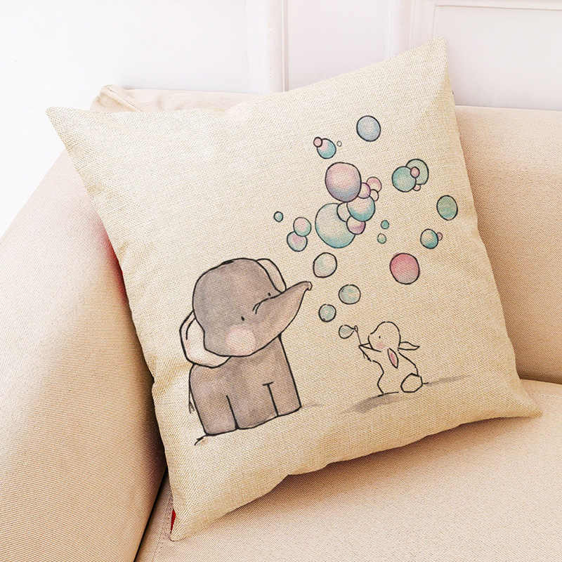 Fantastic Hoomall Cute Small Elephant Decorative Pillows For Sofa Children Room Linen Cushion Cover Car Seat Fashion Pillow Cover Decor Inzonedesignstudio Interior Chair Design Inzonedesignstudiocom