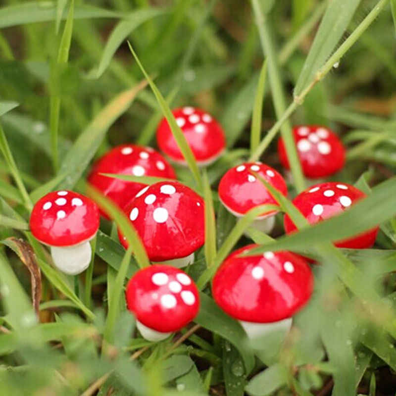 HOT 10Pcs Cute Mini Red Mushroom Garden Ornament Miniature Plant Pots Fairy DIY Dollhouse Terrarium Figurines Decor