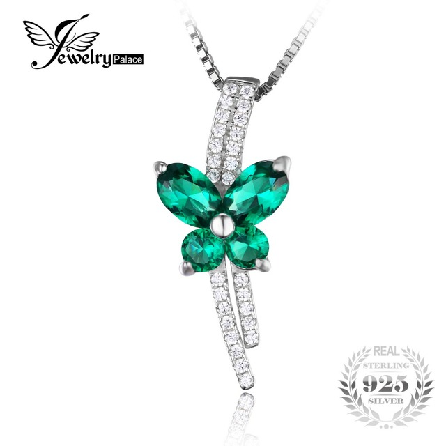 Jewelrypalace Butterfly 1.3ct Created Nano Russian Emerald Pendant 925 Sterling Silver New For Women Does Not Include a Chain