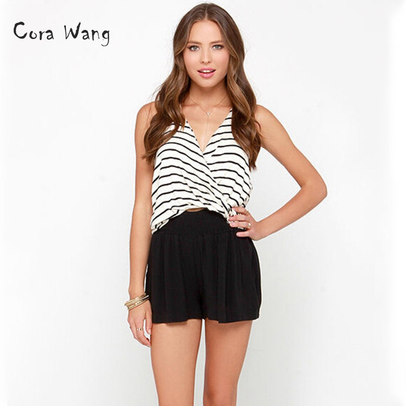 Cora Wang Sexy Sleeveless Striped T Shirt Women Tops Tee Intersect T-Shirt Female Summer Beach Casual Camis Tshirt Blusas