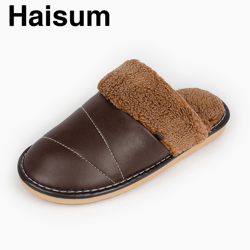 Men 's Slippers Winter genuine Leather Home Indoor Non - Slip Thermal Slippers 2018 New Hot Haisum Tb015 men s slippers winter pu leather home indoor non slip thermal slippers 2018 new hot haisum h 8007