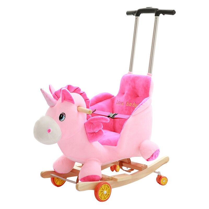 Enfants à bascule cheval balançoire chaise Ride sur animaux jouets bébé chaise à bascule avec musique bébé videur en bois balançoire poussette 5M ~ 4Y