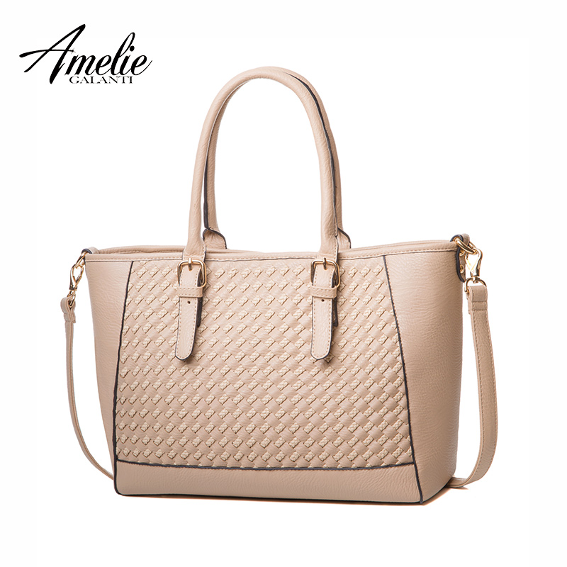 AMELIE GALANTI new women shoulder bags Knitting casual tote handbags fashion criss-cross soft solid high quality pu lady 2017