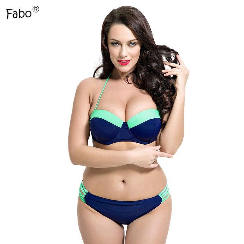 0cd61af22e Fabo Plus Size Swimwear Large Size Swimsuit Women Patchwork Push Up Bikinis  Women 2017 Swim Wear Sexy Swimming Bathing Suit-in Bikinis Set from Sports  ...