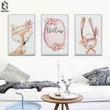 Modern Nordic Kawaii Fox Rabbit Deer Animal A4 Wall Art Canvas Painting Prints Poster Cartoon Pictures For Baby Livingroom