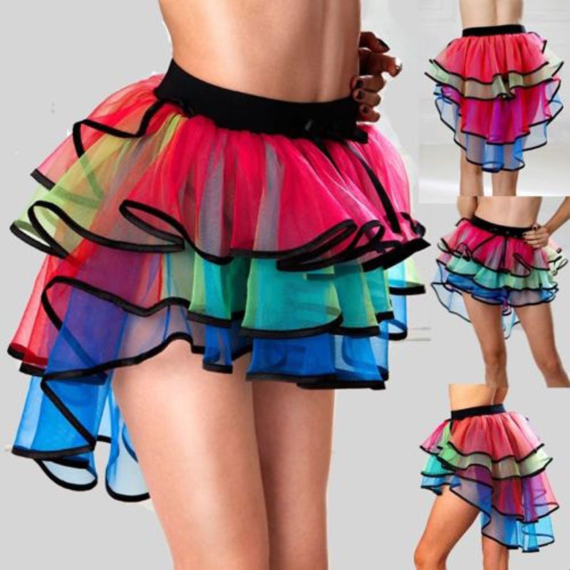 Fashion Women Lady Colorful Mini Skirt Halloween Costume Clubwear Ballet Fancy Mesh Ball Gown Skirts H9