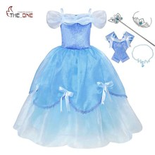 MUABABY Girl Deluxe Cinderella Princess Costume Kids Sleeveless Fluffy Dress Up Halloween Kids Party Ball Gown Christmas Fantasy