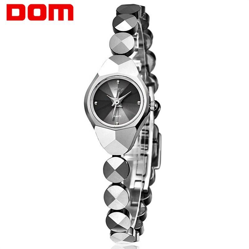 Женщина DOM мини часы Вольфрам Сталь кварцевые роскошные Лидирующий бренд Водонепроницаемый браслет стильные часы для женщин наручные Reloj ...