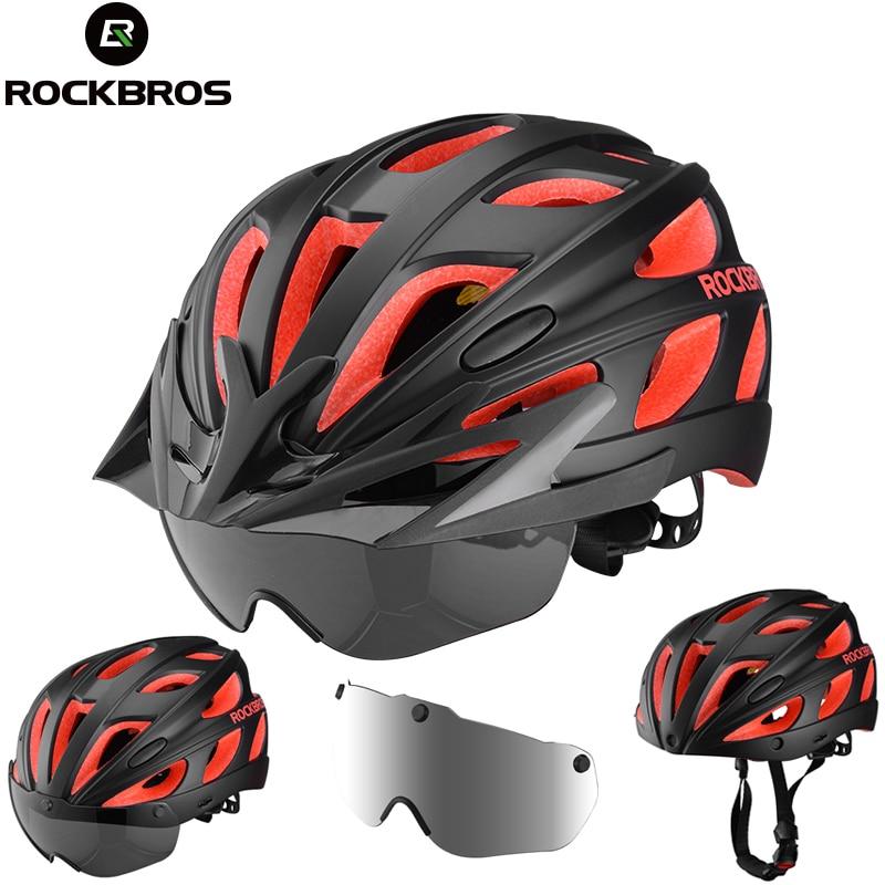 ROCKBROS Integrally-molded велосипедные шлемы ультралегкие Магнитные очки MTB шоссейные велосипедные шлемы с очками 57-62 см