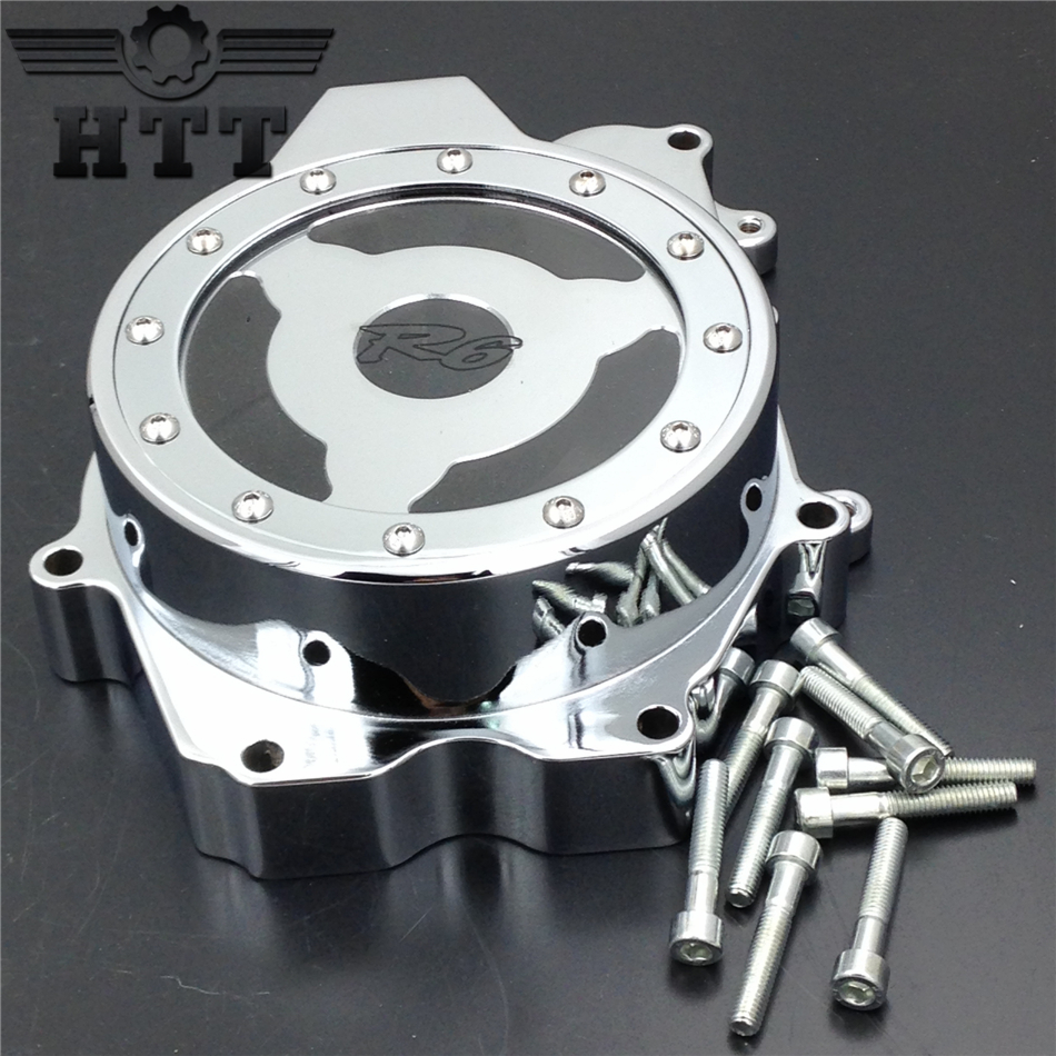 Aftermarket free shipping motorcycle parts Engine Stator cover see through for Yamaha   YZF R6 2003-2006 , 03-09 YZF R6S CHROME aftermarket free shipping motorcycle parts engine stator cover for suzuki hayabusa gsx 1300r 1999 2015 left side chrome