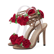 2017 New style women's sexy high heels Thin Heels Round Toe Lace-Up Party shoes size 35-40
