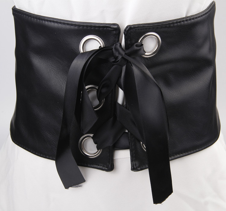 Wide Cummerbund Belts For Women Dress Apparel Lady Belt Waist Pu Leather Black Women's Belts & Cummerbunds Sliver Circle Bow