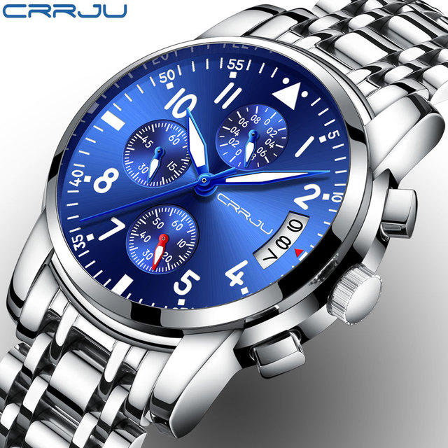 d3d27476fd1f CRRJU Chronograph Brand Fashion Men s Blue Multifunction Dial Watches for  Male Luxury Silver Stainless Steel Strap Wristwatches