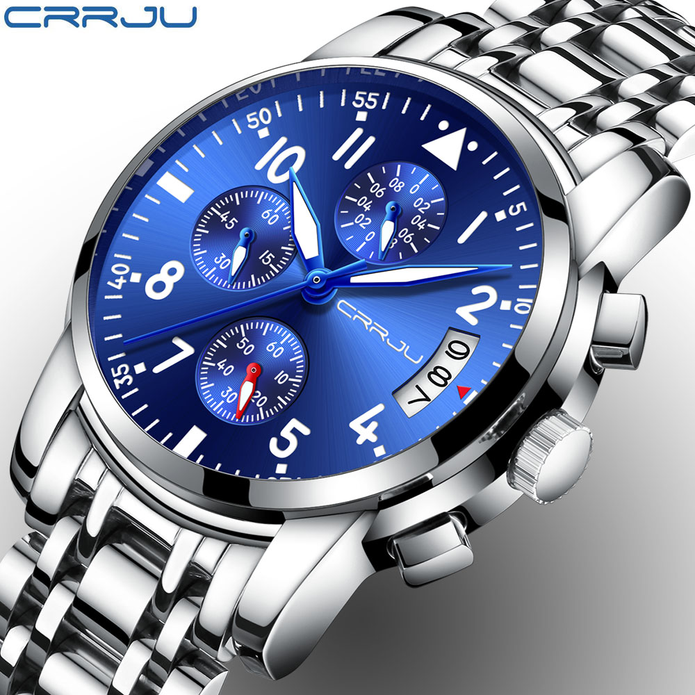 CRRJU Chronograph Brand Fashion Men's Blue Multifunction Dial Watches for Male Luxury Silver Stainless Steel Strap Wristwatches