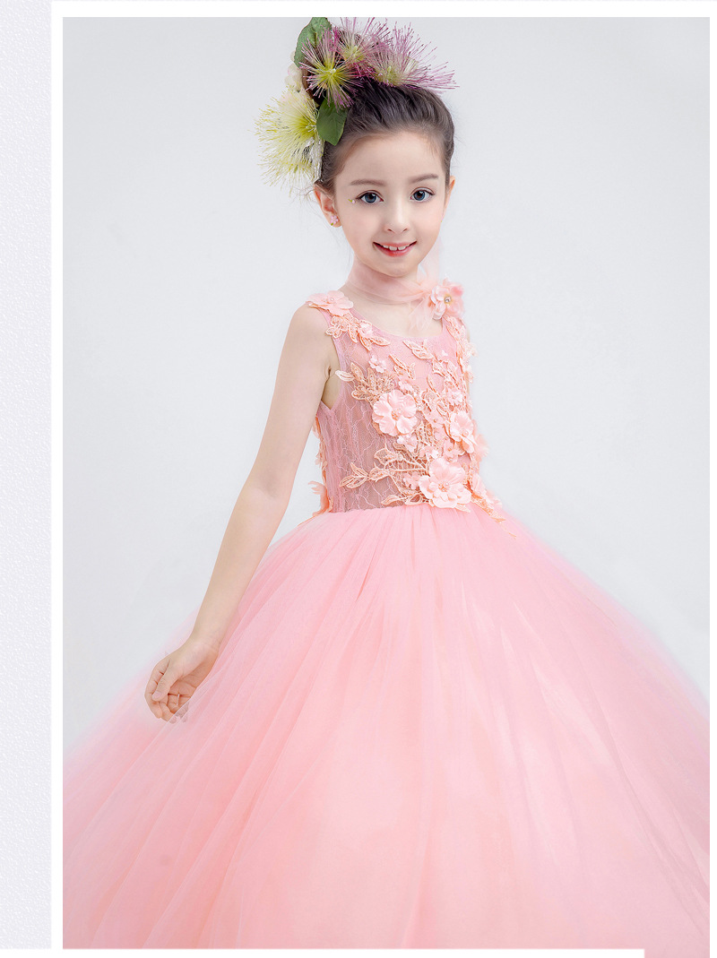 2018 tulle Pink baby bridesmaid flower girl dress fluffy ball gown birthday evening prom cloth tutu party wedding dress NEW lilac tulle open back flower girl dresses with white lace and bow silver sequins kid tutu dress baby birthday party prom gown