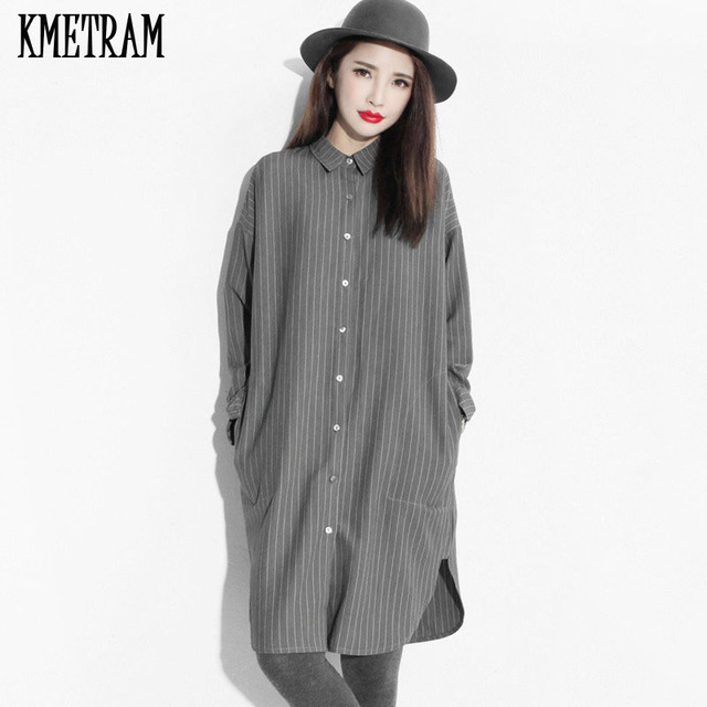 Ladies Dresses 2018 Korean clothes Women Long Sleeve Dress Blue Striped Cotton  Dress Vestidos Mujer Grey Vestido Casual YJZ096 224abd9ea2e0