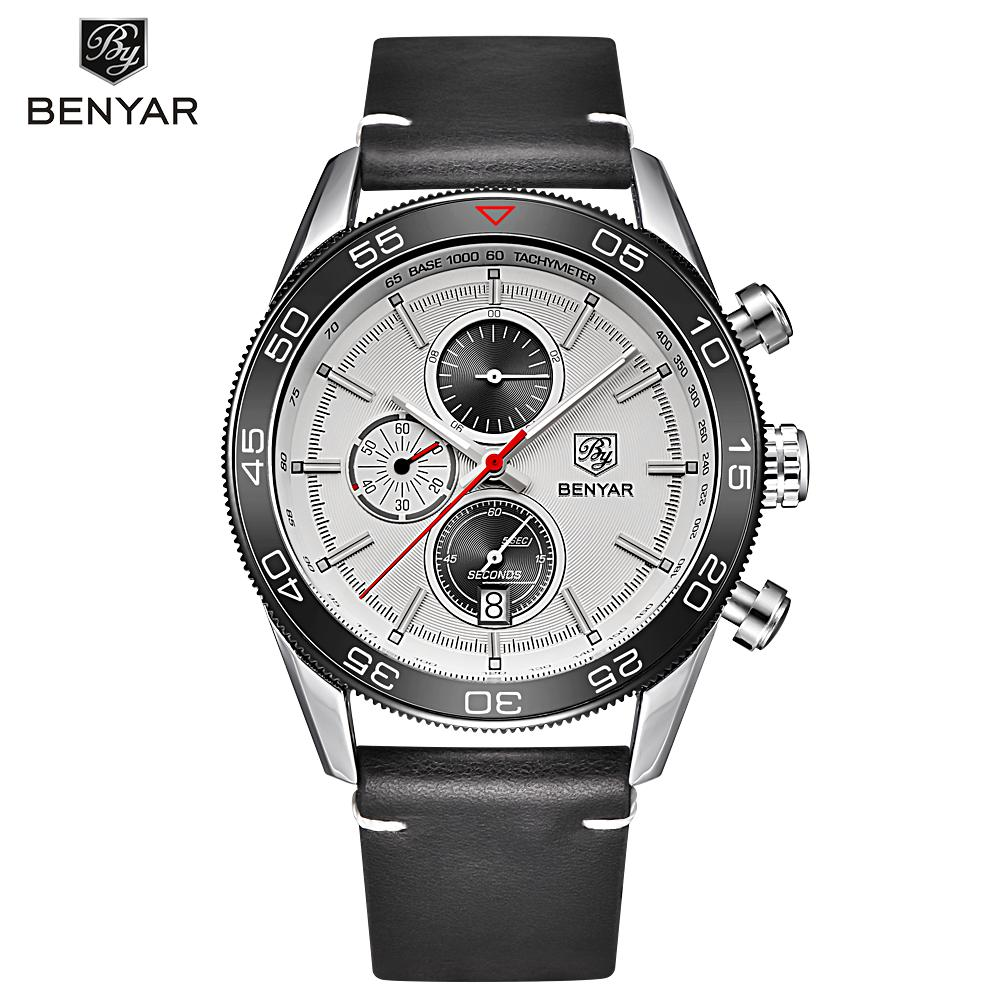 BENYAR Auto Date Sport Men Watches Military Chronograph Quartz Man Outdoor Big Dial Watch Army Male Clock Relogio BY-5106M