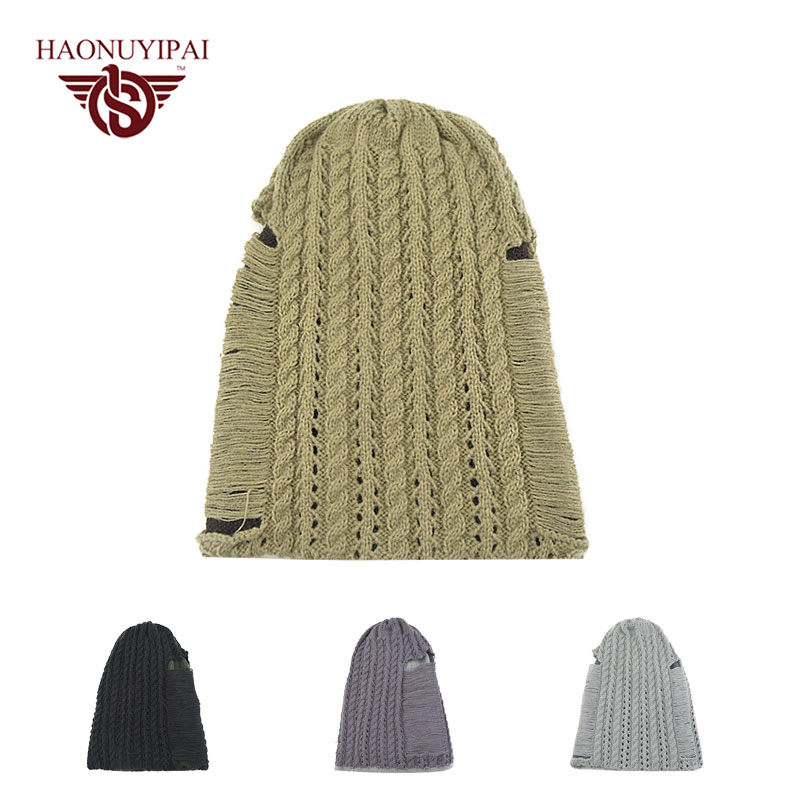 Fashion Double layer Cap Men Casual Hip-Hop Hats Knitted Wool Hollow Skullies Beanie Hat Warm Winter Hat for Men Women HN13-019  new fashion winter cap for women knitted cap wool pure color hat men casual hip hop hats beanie warm hat warm hat plus size lb