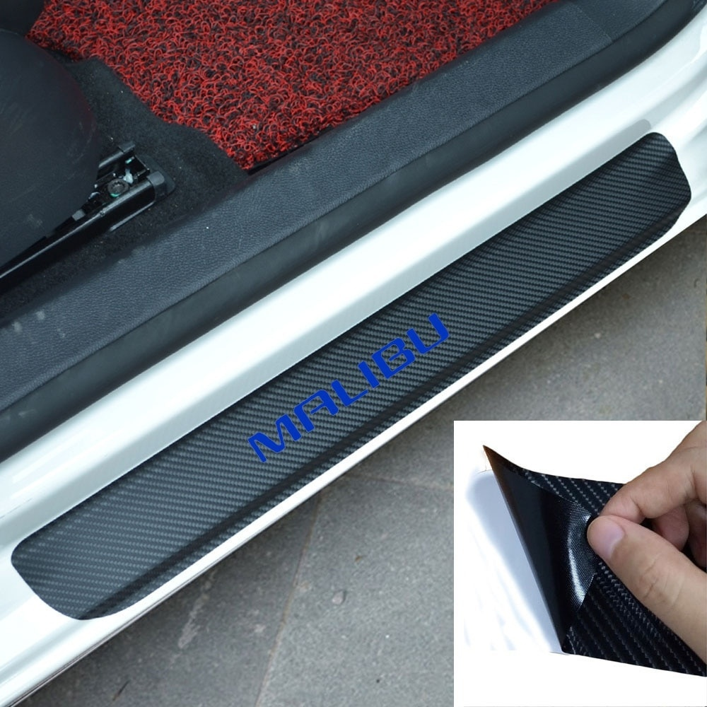 Car Sticker Carbon Fiber Vinyl Door Sill Protector Wear Plate for CHEVROLET MALIBU in Car Stickers from Automobiles Motorcycles