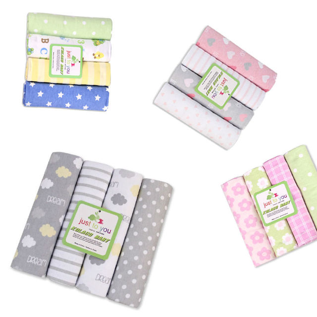 2017 New 4pcs/pack Baby Blankets Cotton Material Newborn Blanket Kids Personalized Cotton Bedding Cover Appease Sofe Swaddling
