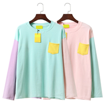 2017 New Spring Cute Women T-shirt Korea Institute Wind Soft Sister Hit Color Patchwork Pocket Loose Long Sleeve T Shirt Female