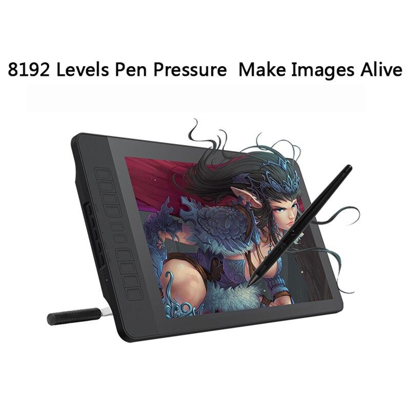 GAOMON PD1560 15.6 pouces IPS HD Art peinture tablette graphique avec écran 8192 niveaux pression stylo tablette affichage pour dessin gant