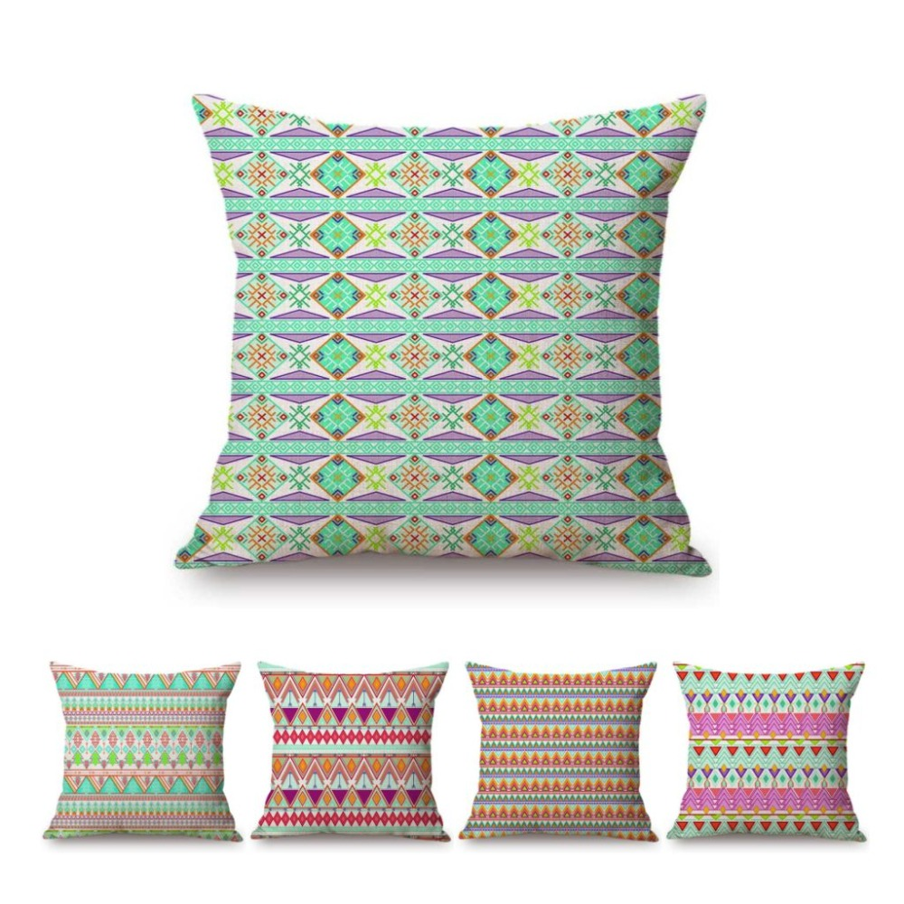 18 Green Geometric Bohemian Mediterranean Pattern Home Decorative Pillow Case Cotton Linen Outdoor Patio Sofa Cushion Covers