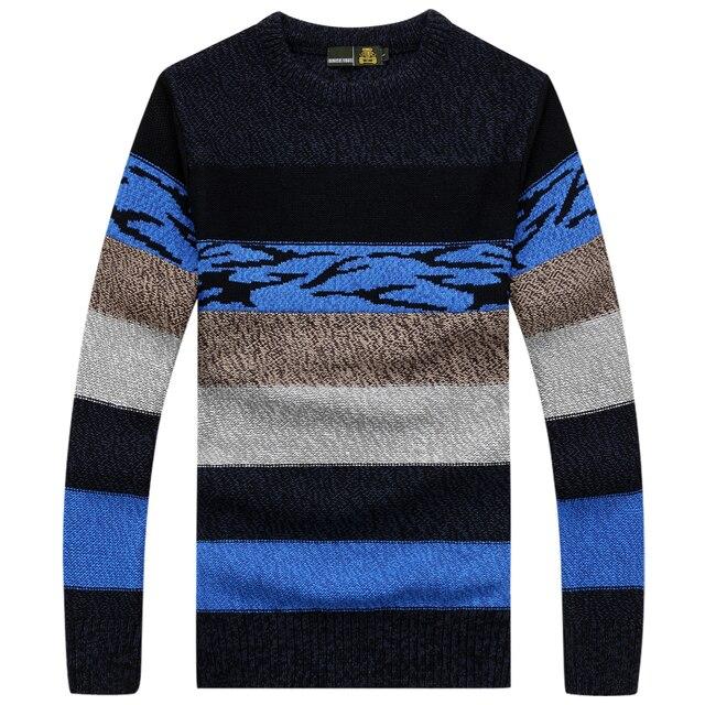 2016 НОВЫЙ зимний длинный рукав полосатые мужчины пуловеры свитер мужской мужской случайные свитер трикотаж плюс размер M-3XL