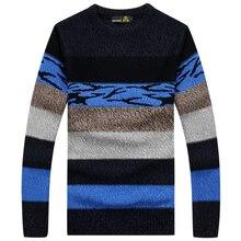 2016 новая зимняя одежда с длинным рукавом полосатый мужчин пуловеры masculino Мужская Повседневная свитер Трикотаж большие размеры M-3XL