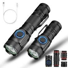 السوبر مشرق 4 * XPE R2 6000LM قوية مصباح ليد جيب USB قابلة للشحن 18650 متعددة عملية السوبر مشرق الشعلة