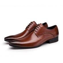 56aa3975947 De gran tamaño EUR45 negro/cuero/para hombre marrón vestido de negocios  zapatos de cuero genuino zapatos de boda zapatos de homb.