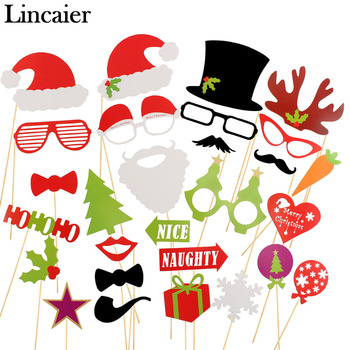 Lincaier 17 28 39 Pieces Photo Booth Props Christmas Decorations Gifts PhotoBooth Party Supplies For Home
