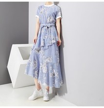 2019 New Women Blue Striped Floral Print Dress Short Sleeve With Belt Casual Dress Asymmetrical Girls Cute Ruffles Summer Dress