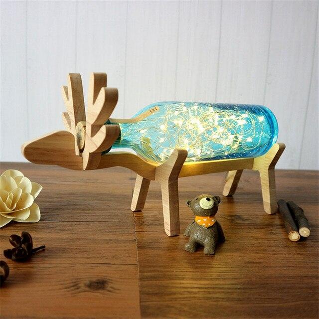 תוספות חמה רומנטי עץ יקר ילדים חדר מנורת שולחן יפה שמיים כוכבים זכוכית בקבוק מיטת אור DIY ילדי מתנת USB תקע משלוח חינם