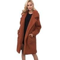 Women Faux Fur Long Coat Long Sleeve Winter Fur Coat Plus Size Fur Coats Women Shaggy Fur Jackets Plush Coat L1
