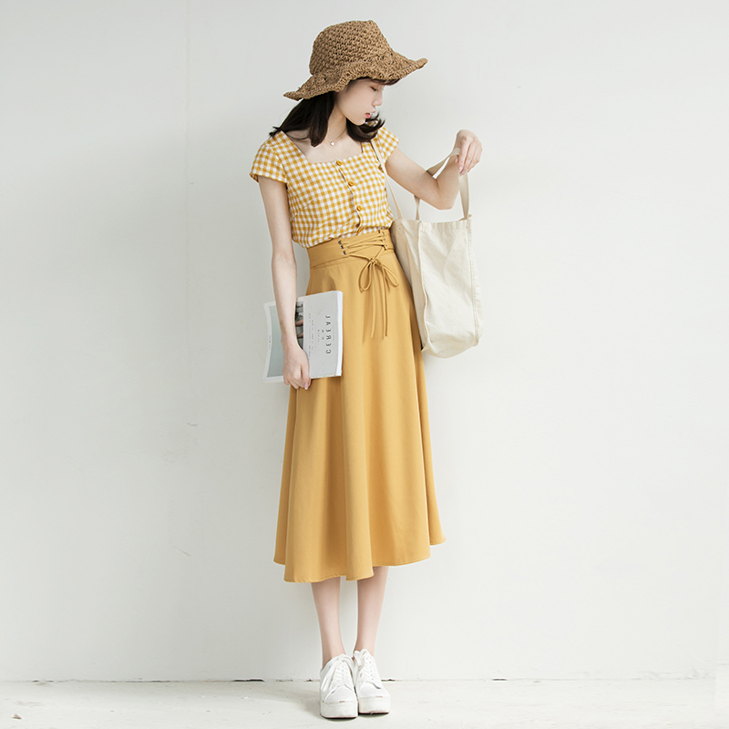 Chic Fashion Two-piece Casual Suits Female Summer 2018 Women Yellow Red Plaid T Shirt A Line Skirt Sets Retro Midi Skirt Suits 9