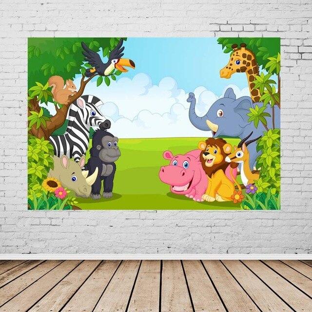 Vinyl Fotografi Latar Belakang Kartun Hewan Jerapah Zebra Anak anak